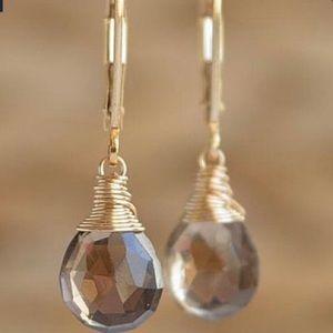 Jewelry - HANDCRAFTED WIRE WRAPPED SMOKEY TOPAZ EARRINGS